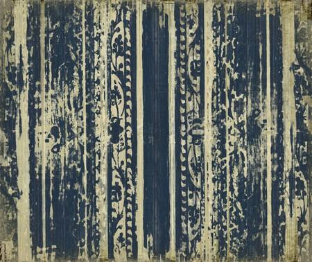 Grungy dark blue wood scroll-work stripes background Stock Photo - 8094512