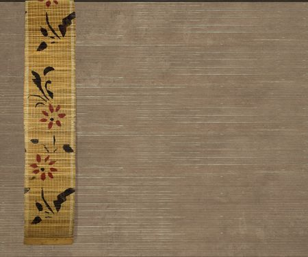 china background: Flower bamboo banner on light brown ribbed wood background