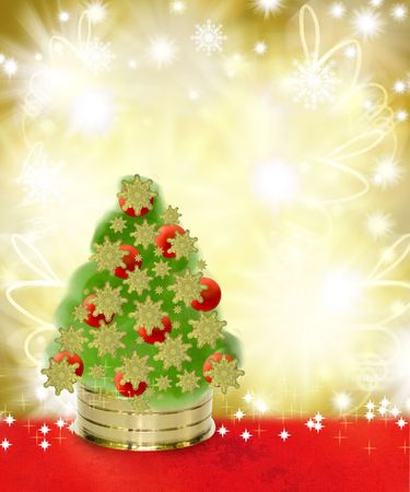 Christmas Tree on Red and Gold Textured Background photo