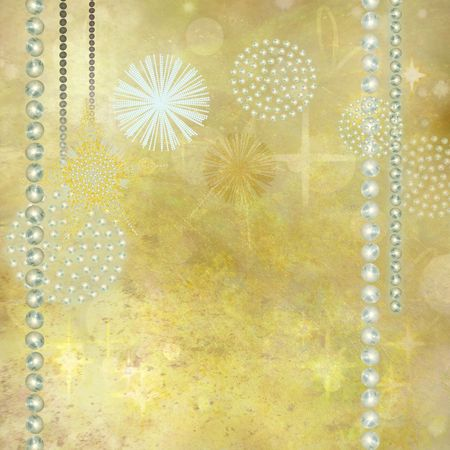 vertical divider: Golden Christmas Background with Beautiful Gemstone Decorations