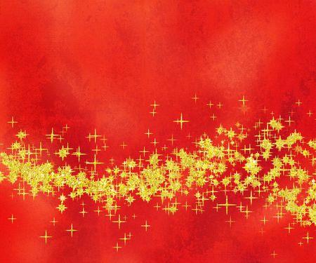 red glittery: Glittery Golden Star onda su Red two-tone background  Archivio Fotografico