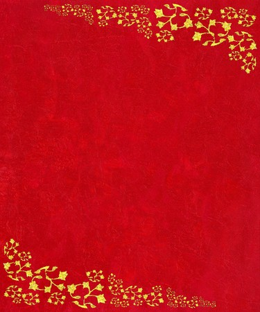 crimson: Crushed red highly textured background with glitter scrollwork corners for Christmas Stock Photo