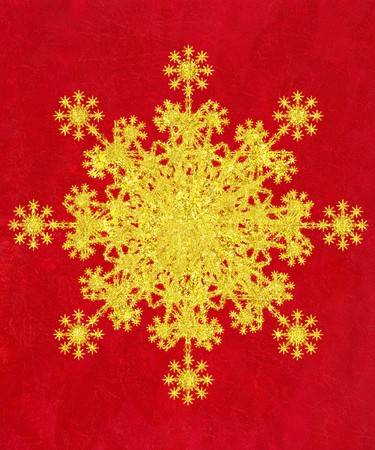 Glittery Gold Snowflake on Creased Red Textured Background  photo
