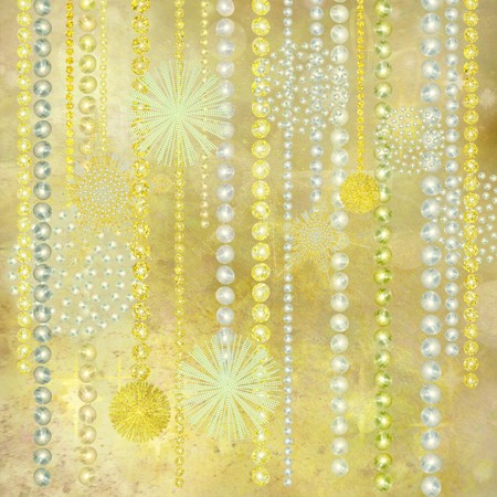 Gold and Pearl Christmas Decorations Textured Background photo