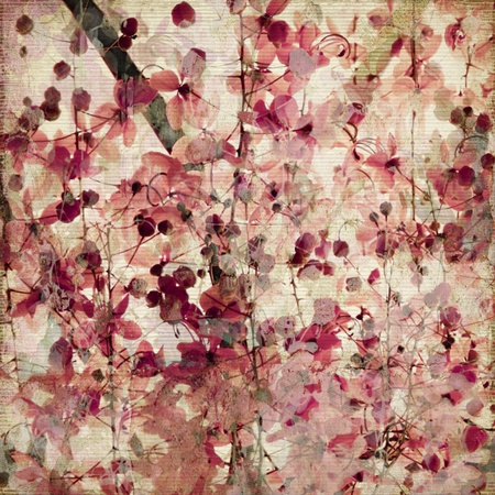 Grunge pink blossom print on ribbed bamboo antique background