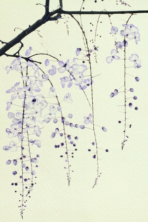 Blue Ink Blossom on Handmade Paper with Text Space