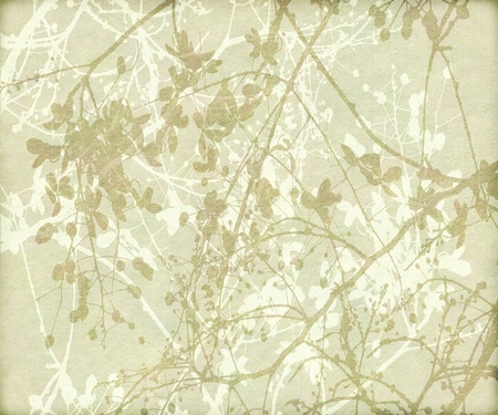 cream paper: Tangled flowers and branches in earth tones textured background