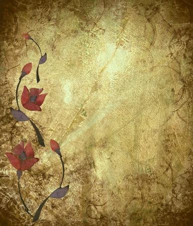 Floral Design on Antique Grunge Textured Background photo