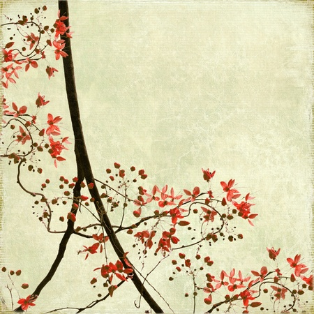 tangled: Tangled Blossom Border on Antique Paper and Bamboo Textured Background