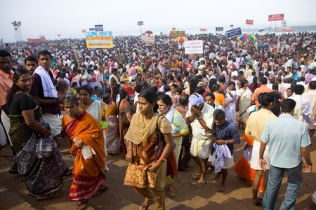 KERALA - AUGUST 9: Huge crowds gather to commemorate their ancestors on August 9, 2010 in Kerala, India. India will have the worlds largest population by 2025, surpassing even china.