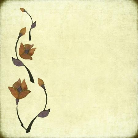 pale cream: Stone Flower Design on Antique Paper Textured Background