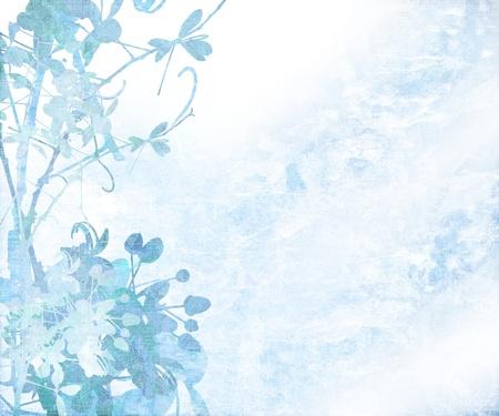 turquesa: Elegante arte de flor con textura de fondo con el espacio de texto