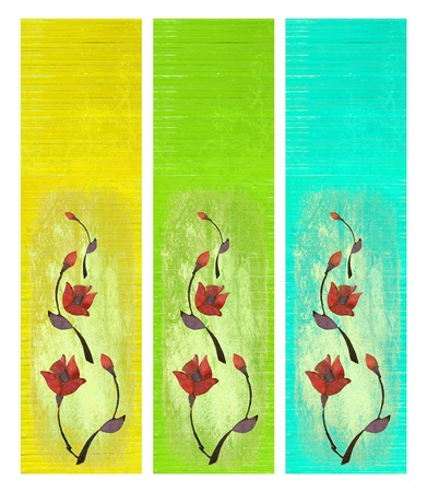 painted wood: Flower Design on Painted Wood Banner Set Isolated Stock Photo