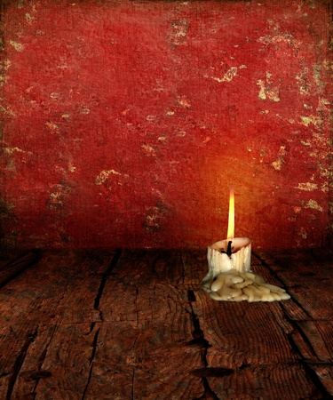 moody: Candle Stubb on rustic moody textured background