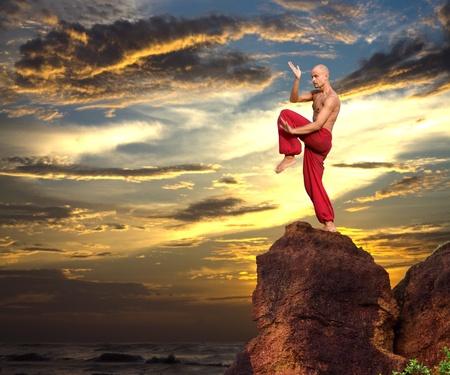 Afbeelding van een Martial artiest op een rots Stockfoto