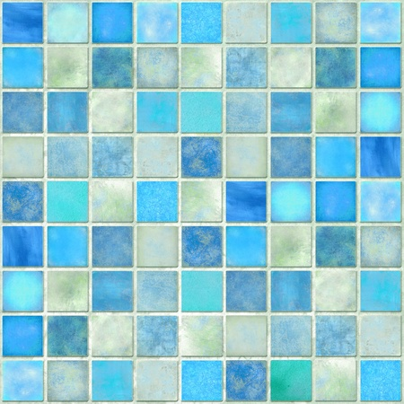 Image of a Blue Tile Mosaic Background