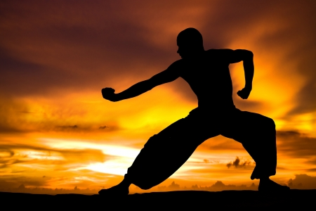 fu: Image of a Martial Artist Practises at Sunset Stock Photo