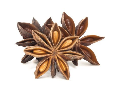 star path: star anise group isolated with clipping path on white