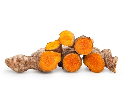 Fresh Cut Turmeric or Curcuma Longa Isolated with clipping path