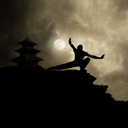 kung fu: kung fu martial art background with text space Stock Photo