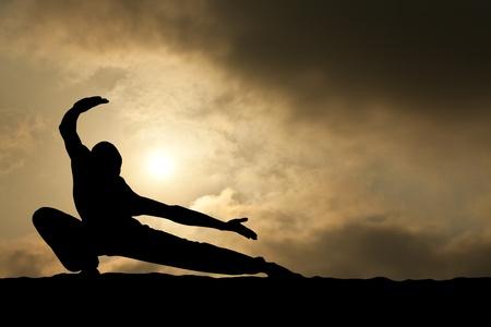 artes marciales: silueta de hombre de artes marciales sobre fondo de cielo dram�tica Foto de archivo
