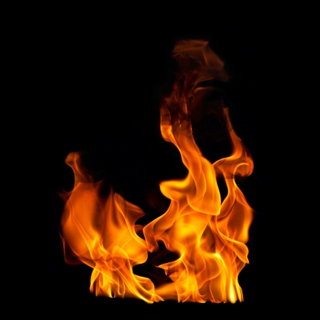 fire flames on black photographic textured background Stock Photo