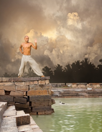 master: Martial Arts Tranquility Background Stock Photo