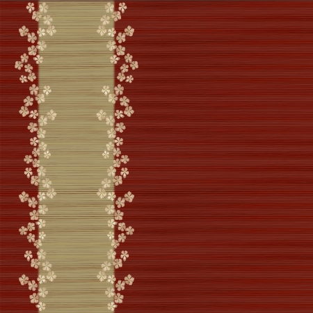 Red and BambooGrass Background with Menu Bar and Flower Print   photo