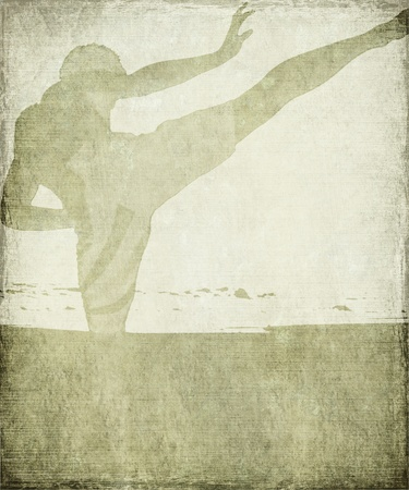 Martial Arts Silhouette on Chalky Grey Grunge Background with Frame  Stock Photo