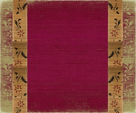 grunge layer: Floral Bamboo Banner Frame on Red Background Stock Photo