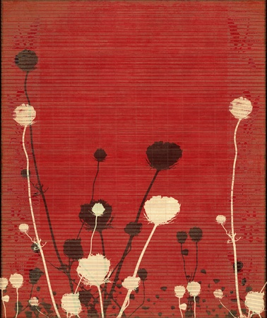agriculture wallpaper: Faded Meadow Flower Silhouette on Red Background