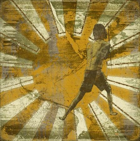 Image of Sunbeams on Vintage Grunge Textured Background  photo
