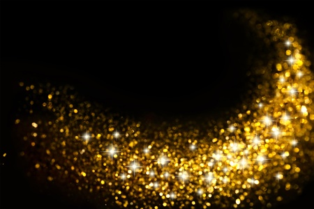 sparkles: Golden Glitter Trail with Stars Background with space for your text