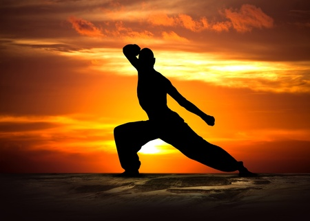 Image of a Martial Arts Fitness at Sunset Stock Photo