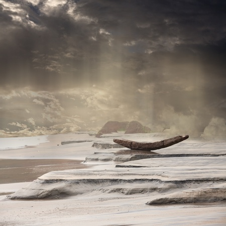 dismal: Abandoned Boat in the Rain Landscape Background Stock Photo