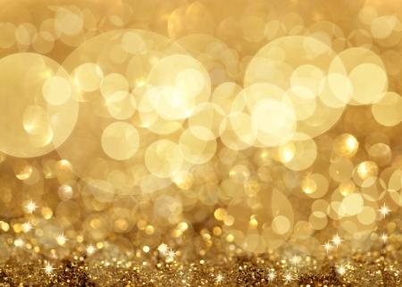 celebration: Luci Twinkley e Stelle di Natale sfondo dorato Archivio Fotografico