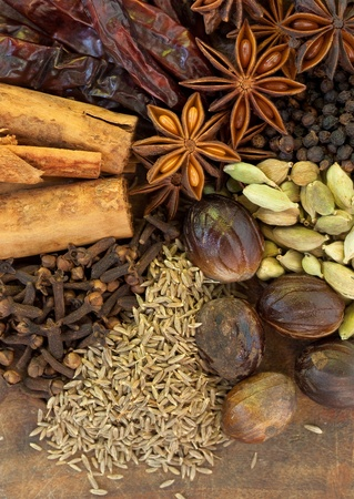 clove of clove: Image of Mixed Spices on a Wood Background