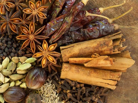 Image of Mixed Spices on a Wood Background photo