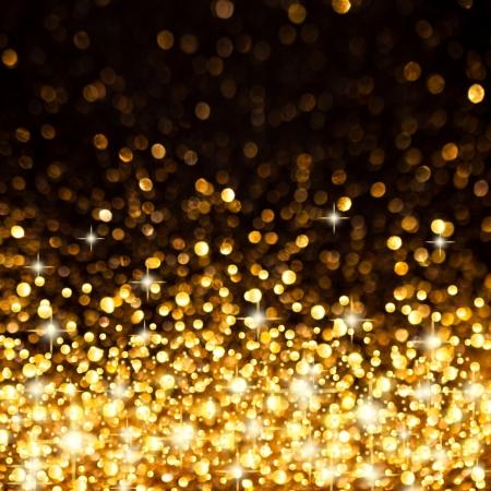 Image of Golden Christmas Lights Background Stock Photo
