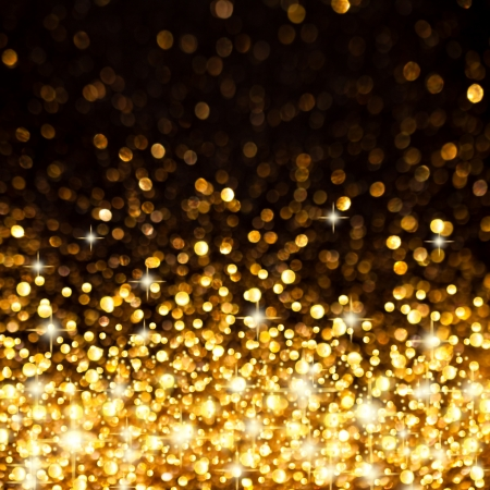 Image of Golden Christmas Lights Background Stock Photo