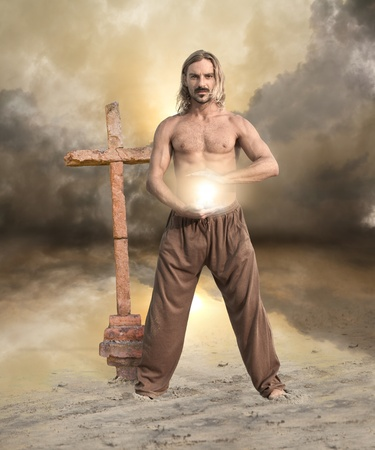 Spiritual Man Brings Ball of Light Textured Background photo