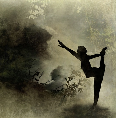 flexible woman: Silhouette Yoga Art Background on Canvas Background