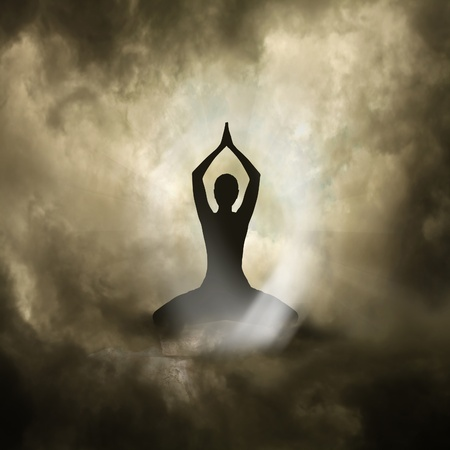 aura: Illustration of Yoga and Spirituality Black Background