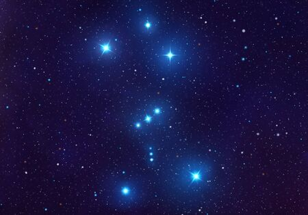 Costellazione della cintura di Orione nell'illustrazione del cielo notturno