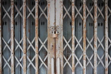 doorlock: metal door has rusty locked