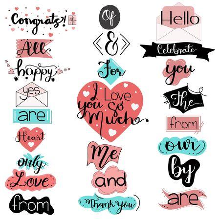 Catchwords Collection Romantic with Handwritten font. Illustration catchwords. I Love You. Engagement invitation card Vecteurs