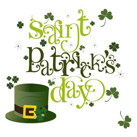 Saint Patricks day, hand drawn lettering design. Hat illustration and green clover