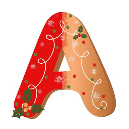 COOKIE ALPHABET gingerbread, Letter A cookie alphabet with Christmas flowers and snowflakes. Illustration Cookie