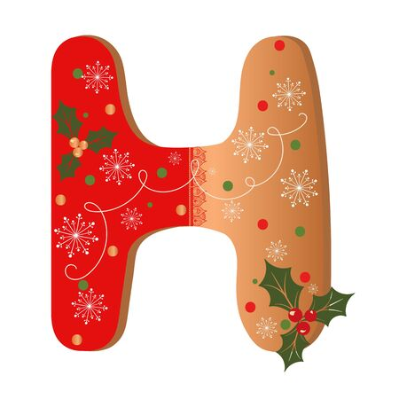 COOKIE ALPHABET gingerbread, Letter H cookie alphabet with Christmas flowers and snowflakes. Illustration Cookie 일러스트