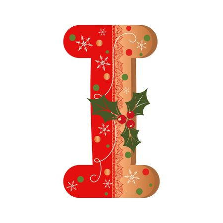 COOKIE ALPHABET gingerbread, Letter I cookie alphabet with Christmas flowers and snowflakes. Illustration Cookie